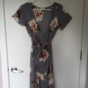 Shop Stevie Floral Wrap Maxi Dress - Gray (S / M)